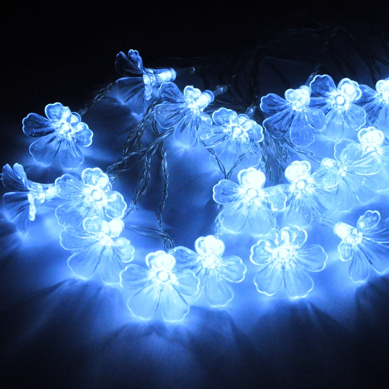 Unique Romantic Holiday Wedding Christmas Tree Decoration Led Artificial Flower Garland String Light,10m 220v H-22