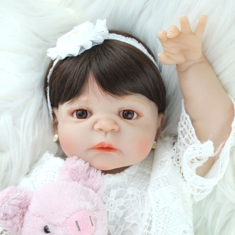 55cm Full Body Silicone Reborn Baby Dolls Toy 22inch Newborn Princess Babie Alive Doll with Pig Toy Cute Girl Brinquedos Bonecas 55cm full silicone reborn baby doll toy real touch newborn princess toddler babies alive bebe doll with pacifier girl bonecas