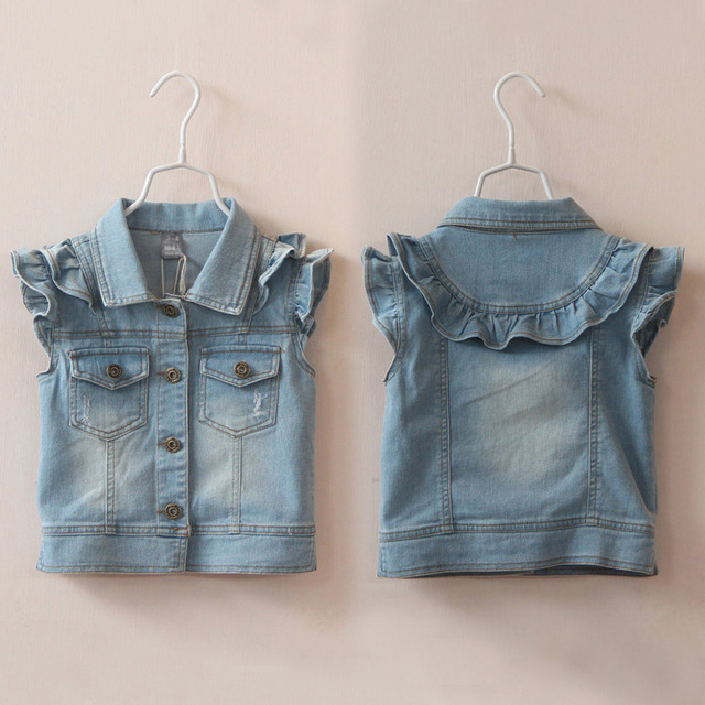 New Arrival Baby Girls Fashion Denim Vest Girls Spring Autumn Denim Waistcoat Child  Denim Coat Gilrs Cotton Denim Vest