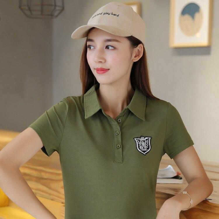 8e58e7e493c 10pcs lot Summer Polo Shirt Women Short Sleeve Solid Slim Polo Shirts Tops  Fashion Cotton Polo Femme Plus Size 6 Colors-in Polo Shirts from Women s  Clothing ...