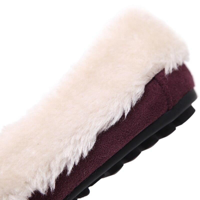 Coréenne Mujer De Plates Dames Duvet Mocassins Chaussures Souliers khaki Fourrure Femmes Glissement Hiver Chaud Noir Simple Appartements Sur purple Zapatos Pois 4qAdnOw1