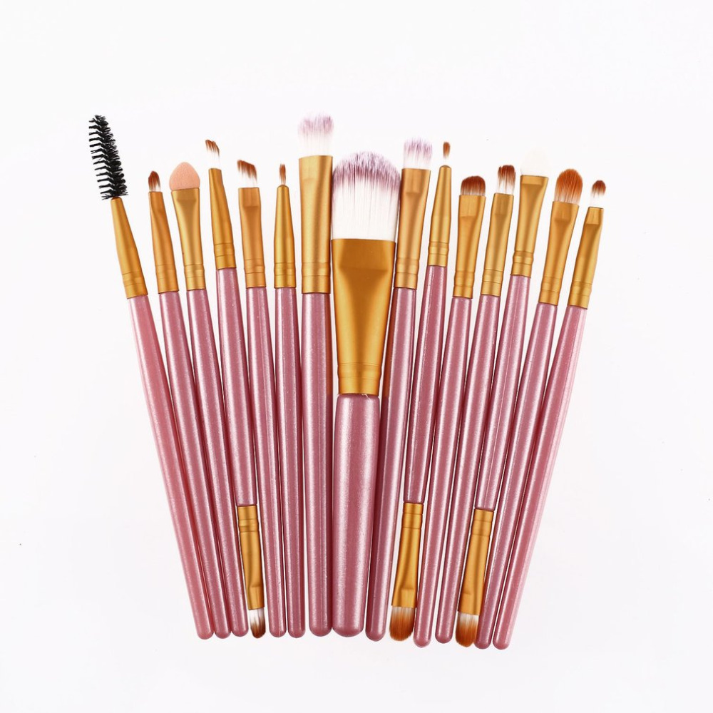 15Pcs/Kit Makeup Brushes Set Eyelash Lip Foundation Powder Eye Shadow Brow Eyeliner Cosmetic Make Up Brush Beauty Tool new high quality 24pcs makeup brushes set cosmetic make up brush tool kit fan foundation powder eyeliner brushes with leather case