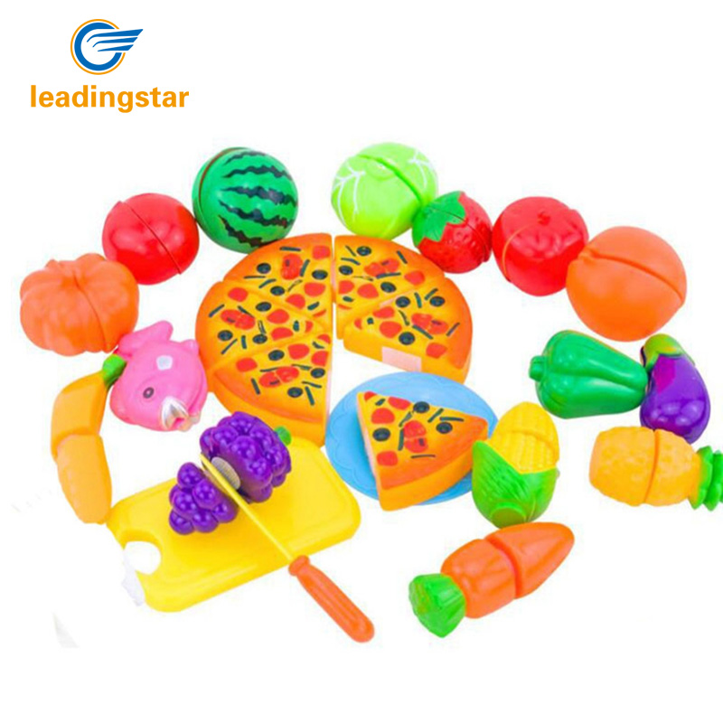 LeadingStar 24PCS/set Pretend Food Miniature Play Classic Kitchen Toys Plastic Cutting Fruits and Vegetables Set with Pizza zk5