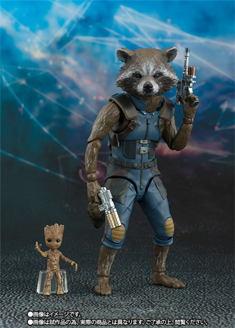 Marvel Guardians of the Galaxy Satr Lord Rocket Raccoon SHF Figuarts Toy Collection Model Brinquedos Figurals Gift image