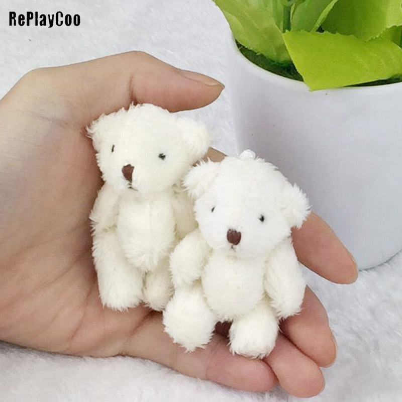 6PCS/Lot Mini Joint Bear Stuffed Plush Toys 6.5cm Cute White Teddy Bears Pendant Dolls Gifts Birthday Wedding Party Decor J00301