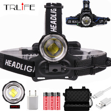 2000 Lumens CREE XM-L XML T6 LED Headlamp Headlight Flashlight Head Lamp Light + 2*18650 6000mah battery + charger + Car Charger 2000 lumens cree xm l xml t6 led headlamp headlight flashlight head lamp light 18650 ac car charger for hunting camping