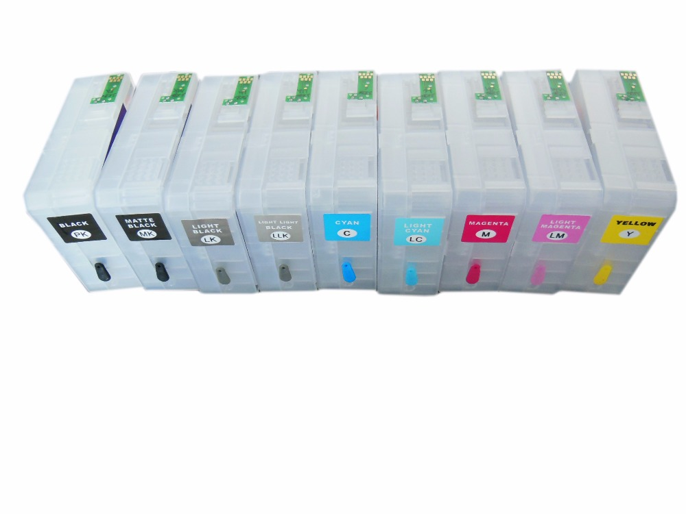80ml pcs T8501 T8509 Empty Refillable Ink Cartridge For Epson SureColor P800 sc p800 Printer With Reset Chip in Ink Cartridges from Computer Office