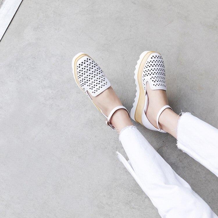 MLJUESE 2018 women sandals cow leather white color ankle strap cutouts wedges sandals platform beaches sandals