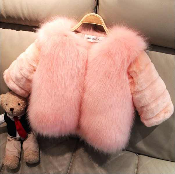 a1dd9da238b1 winter jacket children girls PINK purple white black children coat kids  outerwear girls faux fur cardigan warm fashion