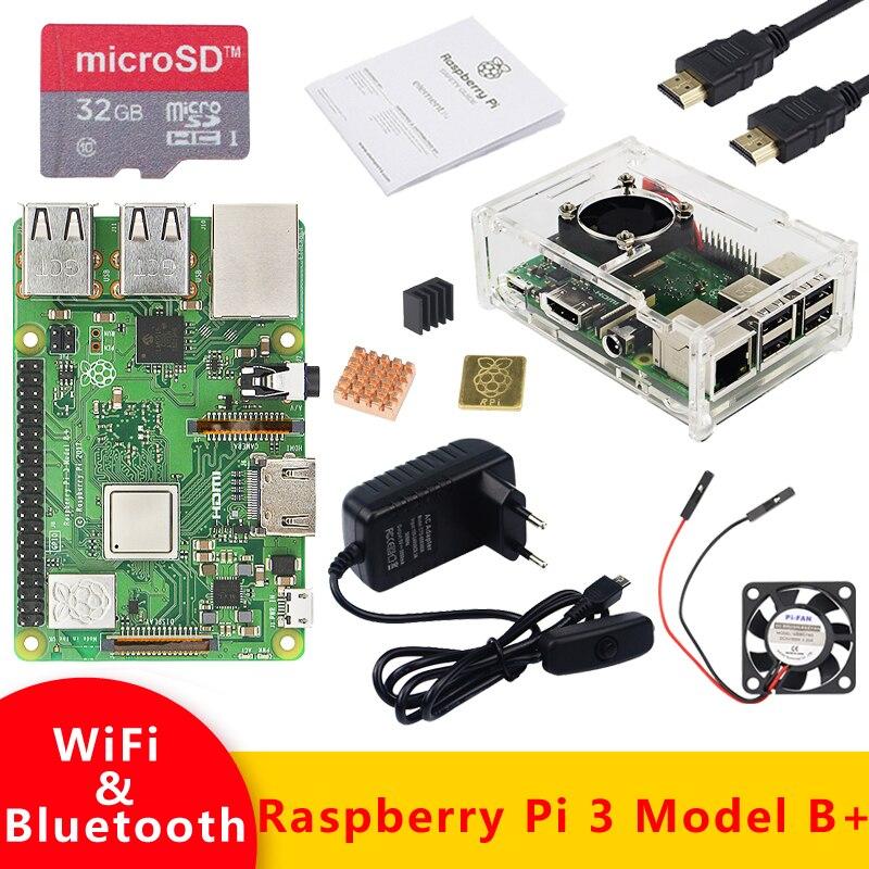 Original UK RS Raspberry Pi 3 modèle B Plus kit WiFi & Bluetooth avec adaptateur secteur 3A boîtier acrylique mieux que Raspberry Pi 3B