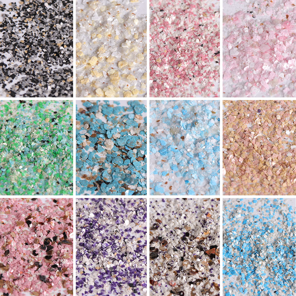 Image 2 - 1 set 12 Grid Colorful Marble Irregular Nail Sequins 3d Fine Nail Glitter Powder Manicure Flakes Paillette Nail Decoration LA546-in Nail Glitter from Beauty & Health