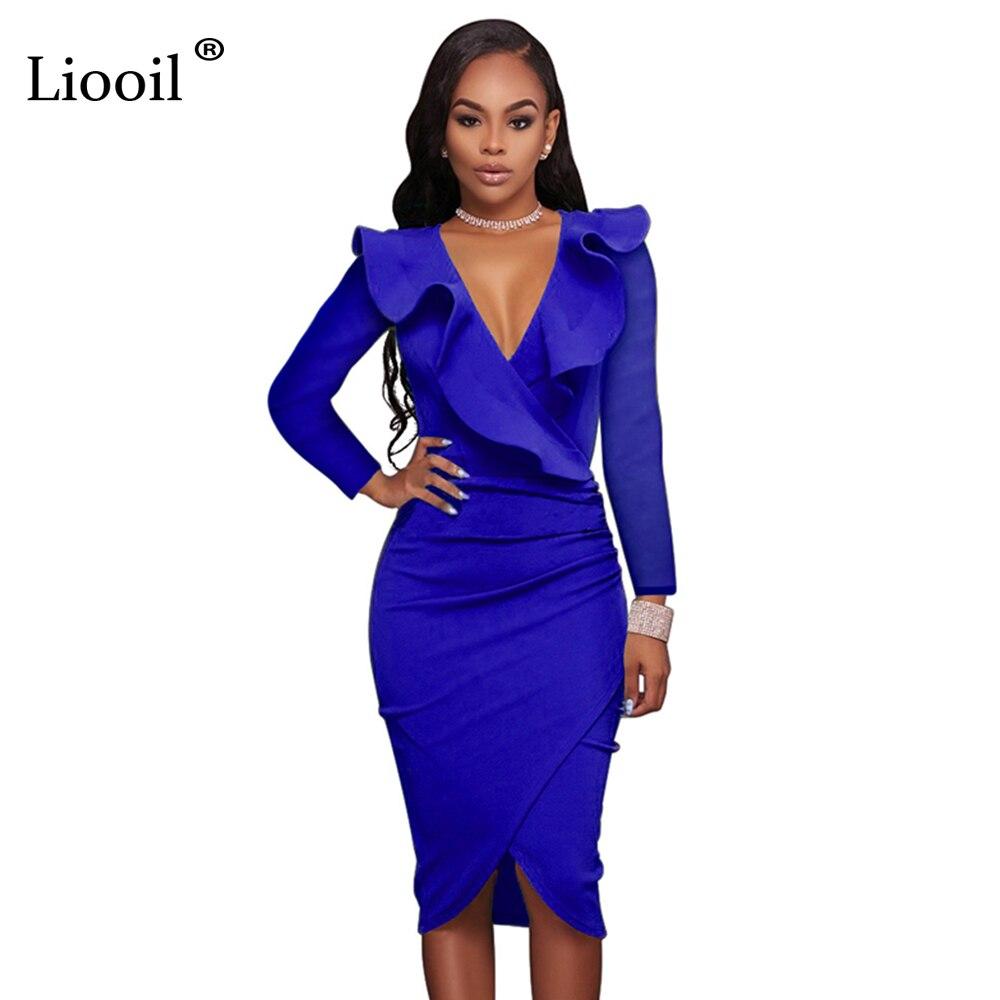 Liooil Elegant Women Party Dresses Ruffles Long Sleeve Deep V Neck Bodycon Sexy Midi Dress 2019 Spring Dress Blue Black Robe
