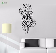 YOYOYU Vinyl Wall Decal Animal Wolf Dog Flowers Kids Room Bedroom Removable Home Decoration Stickers FD411
