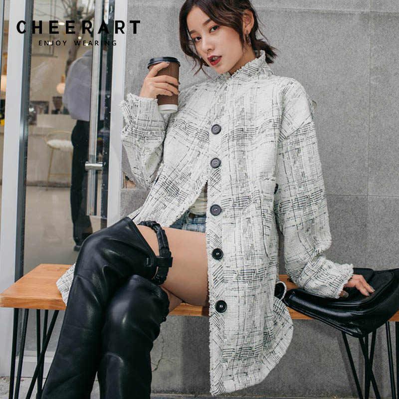 a490e1c97ea Cheerart Winter Long Wool Coat Women Vintage Plaid Wool Blend Coat White  Stand Collar Woolen Outerwear