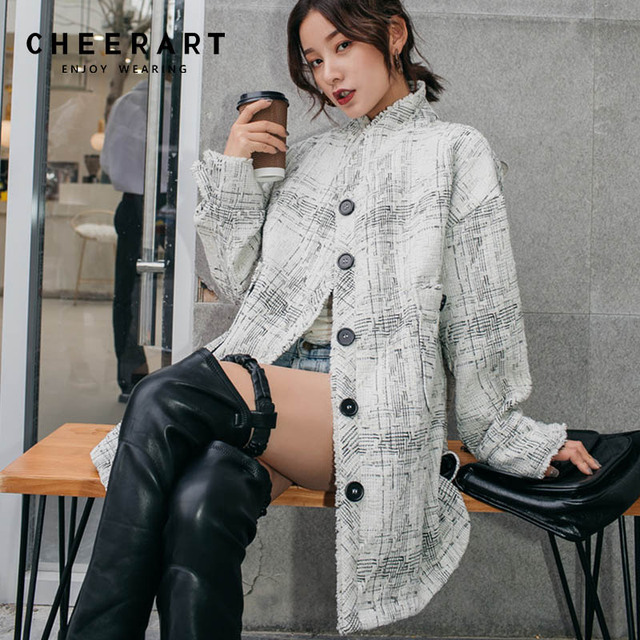 f14b6faf584 Cheerart Winter Long Wool Coat Women Vintage Plaid Wool Blend Coat White  Stand Collar Woolen Outerwear