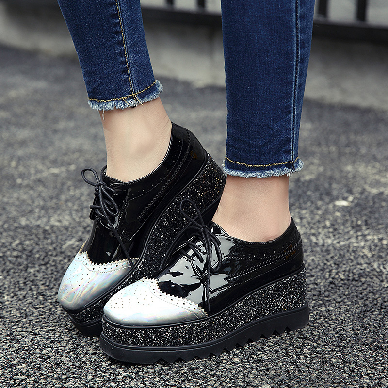 ФОТО 2017   Sequins Woman Casual  Shoes High Heels Wedges Women Pumsp Thick Bottom  Platform Shoes
