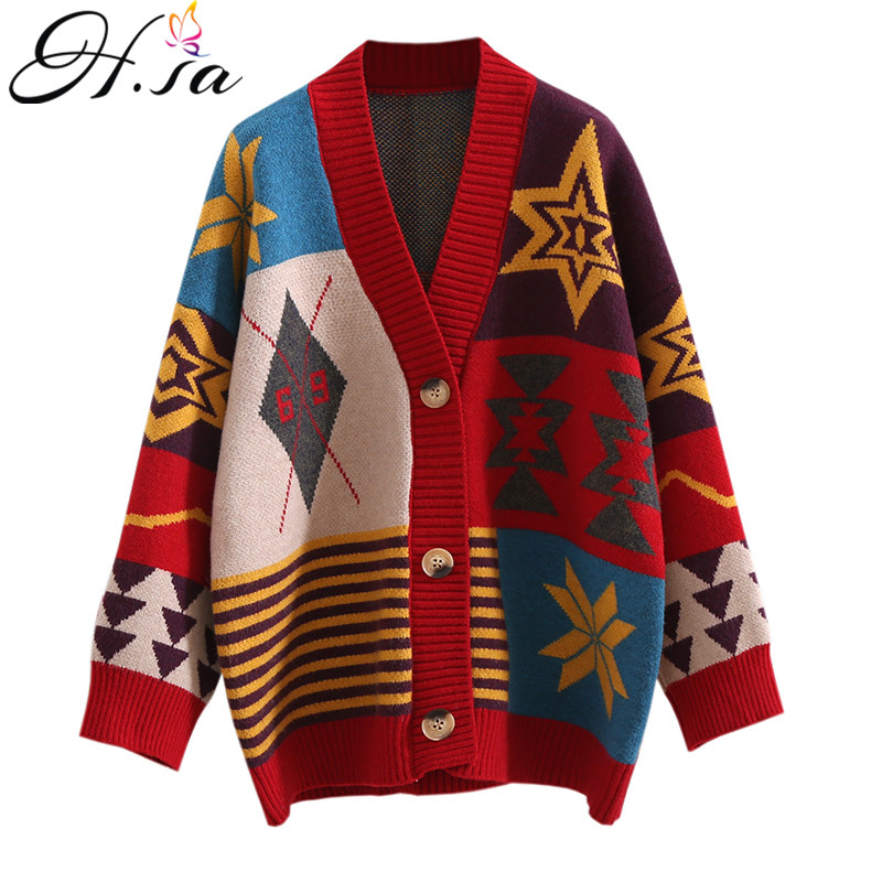 H.SA 2019 European Fashion Women Long Sweater Cardigans Vneck Vinatge Casual Knit Jumpers Long KNit Coat  Fashion Women Sweater