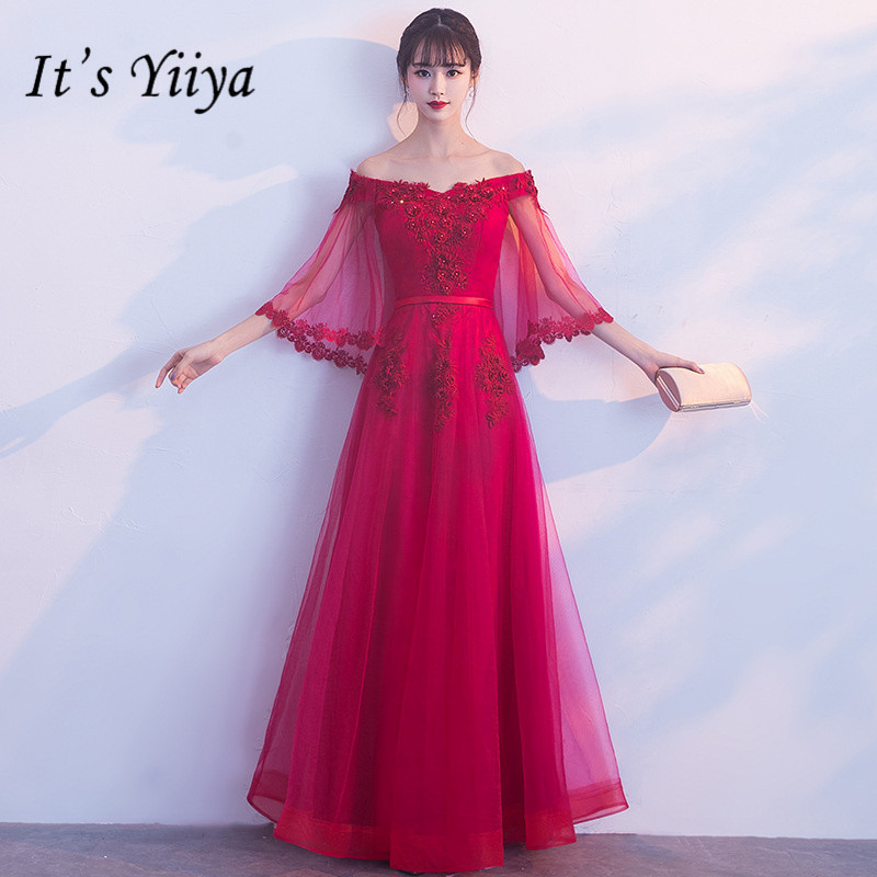 2f34c8d6a2bf2 Best Price It's YiiYa Flare Sleeve Boat Neck Bridesmaid Dresses ...