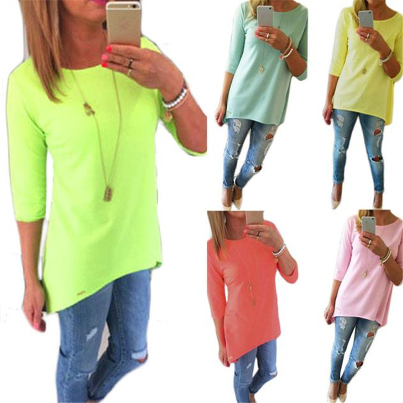 snowshine YLIW Women Loose Pullover T Shirt Three Quarter Tops Shirt free shipping