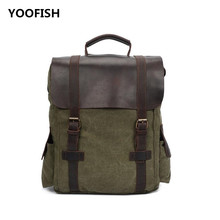 YOOFISH Classic Hot selling New Large capacity Backpack Canvas Travelling bag Unisex Khaki/Blue/Army Green XZ-067 Free Shipping