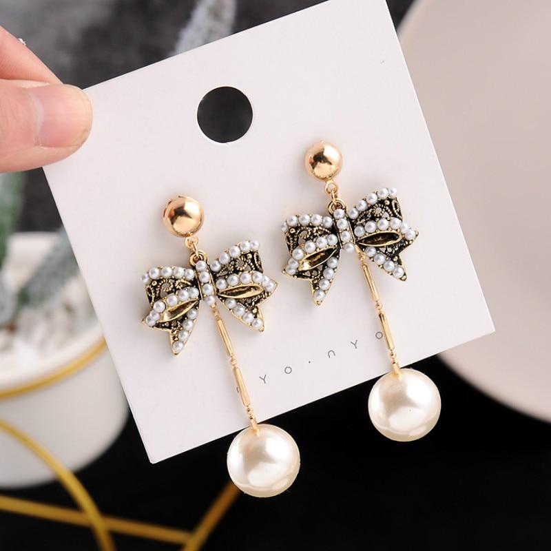 Bohemia Simulated-pearl Bowknot Women Dangle Earrings Pearl Bow Long Fringed Earrings Bohemian Drop Earrings