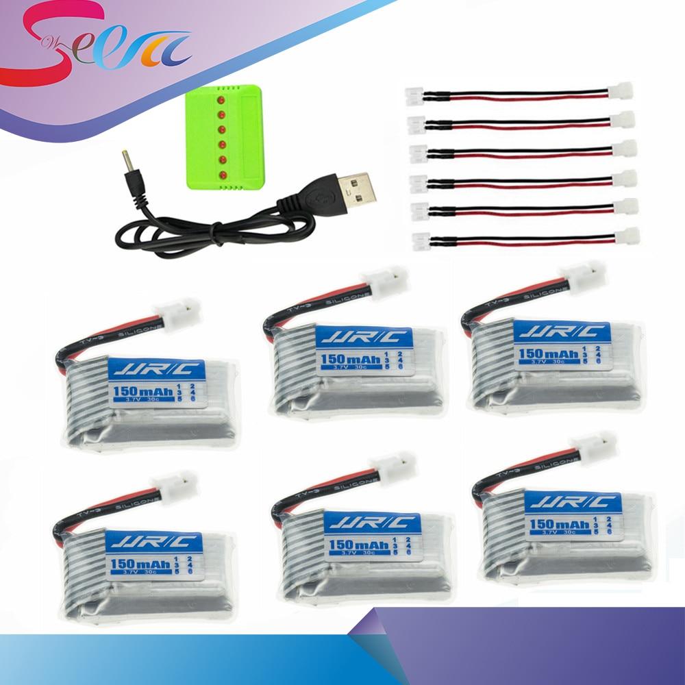 4/5/6 pz 3.7 v 150 mAh 30C lipo Batteria Con X4/X5/X6 Caricatore per Eachine E010 E011 E012 E013 Furibee F36 JJRC H36 Quadcopter Mini