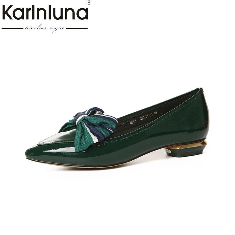 KARINLUNA genuine leather fashion Size 34-40 pointed Toe Platform Women Shoes Woman Sexy Bowtie low Heels slip on Party Pumps цена и фото