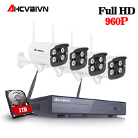 960P HD Outdoor IR Night Vision Home Video Surveillance Security IP Camera WIFI CCTV Kit 4CH Wireless NVR System+1TB HDD