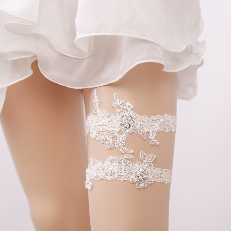 Garters 1pcs Cute Wedding Leg Garter Toss Garter White Stretch Lace Gold Glitter Bride Wedding Garters Bridal