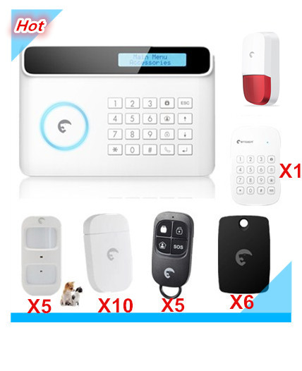 LCD Display 433Mhz Etiger Wireless GSM Alarm System Smart Safe Home Smart Security Alarm system with RFID reading free shipping etiger s3b wireless security alarm system with gsm transmitter 433mhz es cam2a wifi hd 720p day night ip camera