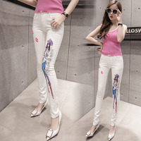 2017 Fashion White Jeans Woman High Waist Pretty Girl Print Jeans For Women Sexy Red Lips
