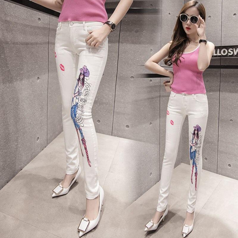 2017 Fashion white jeans woman high waist pretty girl print jeans for women sexy red lips print denim jean pants skinny jeans flower print jeans woman high waist jean