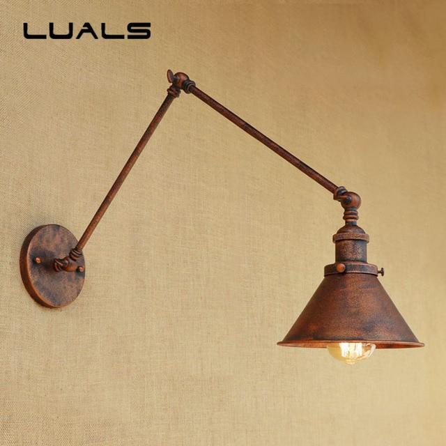 Loft Vintage Wall Lamp Iron Art Adjustable Metal Rusty Color LED ...