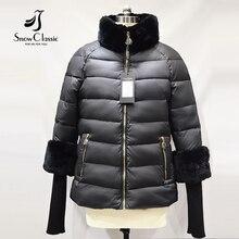 Snowclassic Women's Winter Jacket 2016 Real Rex Rabbit Fur Collar/sleeve Jacket Winter Coats Parka Women 15344