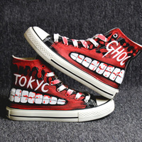 Hip hop street dance Tokyo Ghoul Graffiti Canvas Shoes Spring Hand Painted Shoes Halloween Breathable Sneakers A51403