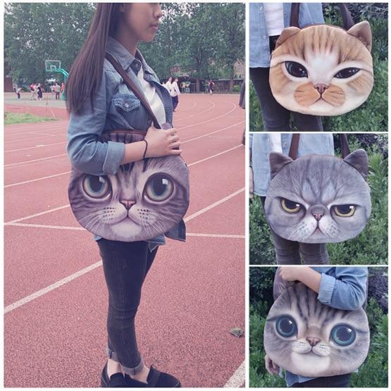 Single Shoulder Bags Imitation Leather Handbag Messenger Bag Lovely Female Big Size Cute Cat Anime Purse 3D Women Sling Bags gpx 93 oval shuo single trash bin upscale fashion imitation leather