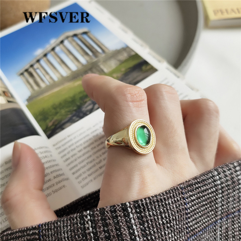 WFSVER 925 sterling silver jewelry ring gold color Korean style fashion green crystal rings opening adjustable fine jewelry in Rings from Jewelry Accessories
