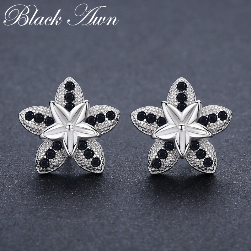 100% Genuine 2.8g 925 Sterling Silver Jewelry Black Spinel Stone Star Cute Party Stud Earrings for Women Bijoux Femme I002100% Genuine 2.8g 925 Sterling Silver Jewelry Black Spinel Stone Star Cute Party Stud Earrings for Women Bijoux Femme I002