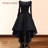 Elegant Black High Low Appliques Beading Lace Evening Dress Backless Asymmetrical Formal Gown Party Dresses