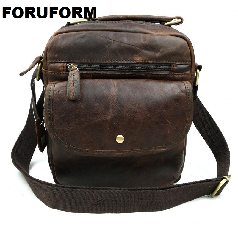 Vintage 100% Genuine Leather Men Messenger Bag Crazy Horse Genuine Leather Shoulder Bags Male Men Casual Business Bag LI-867