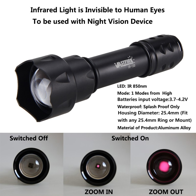T20 Hunting Flashlight Rechargeable Battery Zoomable Focus 850 Nm LED Infrared Radiation IR Lamp Night Vision Torch For 18650