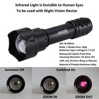 T20 linterna batería recargable enfoque con zoom 850 nm LED radiación infrarroja IR lámpara foco de visión nocturna para 18650