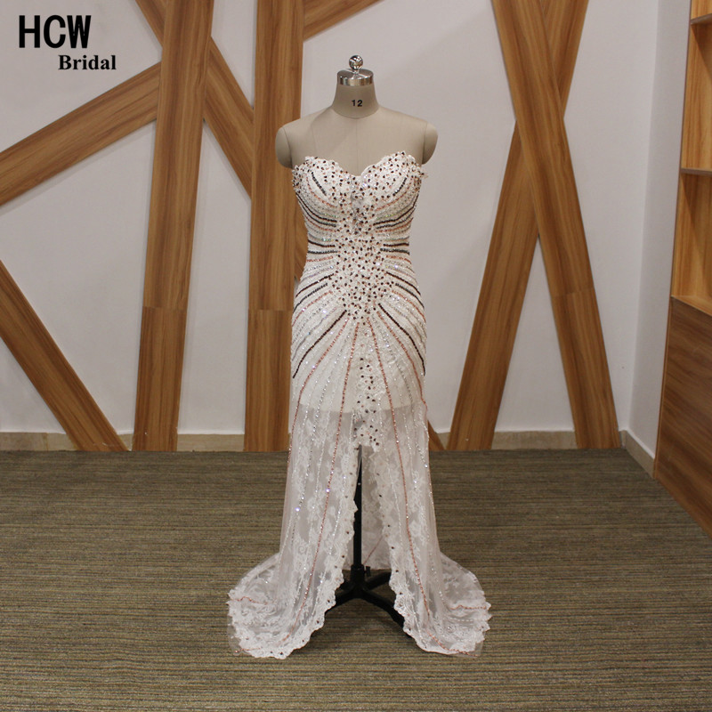 Luxury Mermaid Long   Dress     Evening   Boat Neck Front Slit Beaded Lace Tulle Arabic   Evening     Dress   2019 Custom Made Women Party Gown