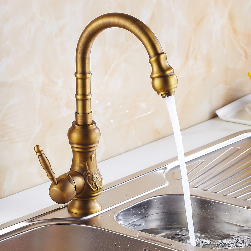 Free Shipping European Design Antique Brass Kitchen Tap Antique Faucet  Single Hole Water Tap Kitchen Faucet Torneira Cozinha In Kitchen Faucets  From Home ...