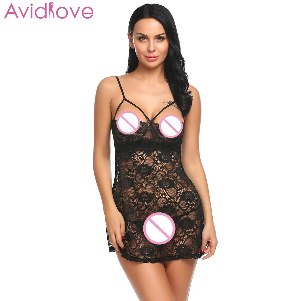 Buy Avidlove Women Sexy Lingerie Erotic Costumes Sexy Underwear Babydoll Chemise Sleepwear G-String Lace Cup Open Floral
