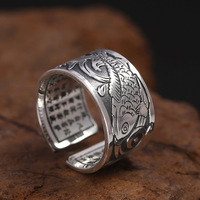 S999 pure silver jewelry sterling silver heart ring men's wide version squid tail ring retro Thai silver ring