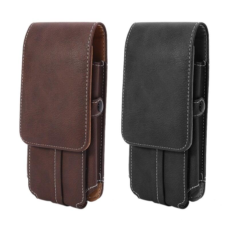 THINKTHENDO Men Waist Belt Bum Bag Phone Waist Flip Pockets Leather Cards Holder Faux Lather Case