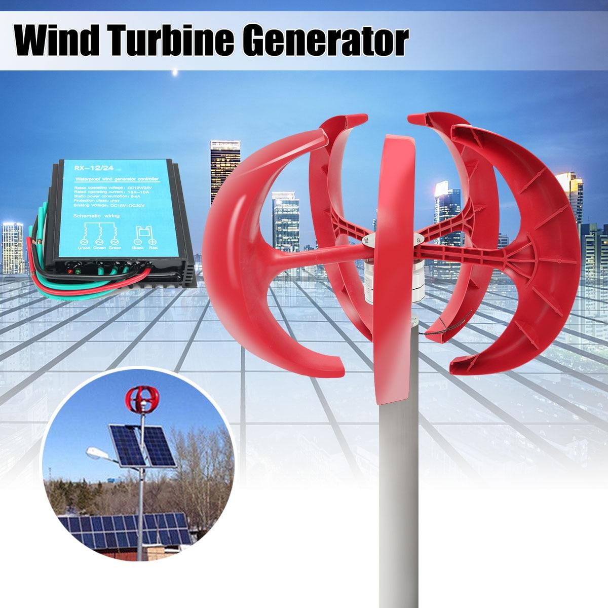 100W 200W 300W 400W Wind Generator Lantern 12V 24V 5 Blades Permanent Magnet Generator Turbine + 600W Wind Controller 12V 24V 100w 200w 300w 400w lantern wind turbine generator dc 12v 24v wind power permanent magnet generator 600w wind energy controller