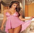 free shipping Sexy Women's Lingerie Dress Underwear Transparent Babydoll Sleepwear+G-string plus size 3xl