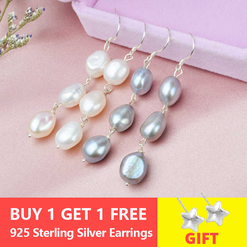 ASHIQI Natural Long Baroque Pearl Earrings For Women  8-9mm White Gray Handmade 925 Sterling Silver Jewelry Party Gift
